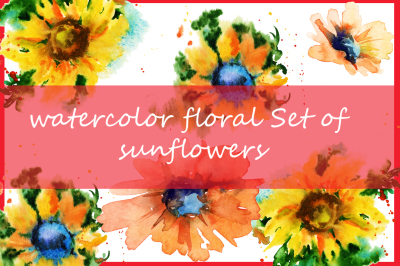 watercolor floral Set of sunflowers