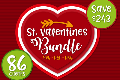 Valentines Bundle: 86 Valentines Quotes in SVG, DXF, CDR, EPS, AI, JPG, PDF and PNG formats