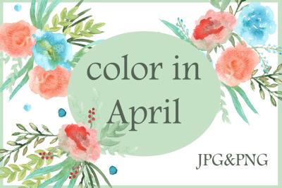 color in April. watercolor