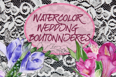 Watercolor wedding boutonnieres