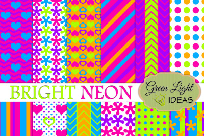 Bright Neon Digital Papers