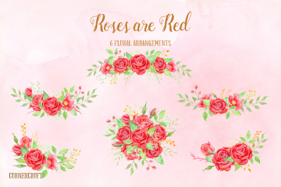 Watercolor Red Rose Bouquet