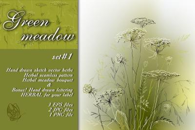 Green meadow herbal sketch set #1