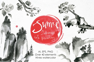 Sumi-e. Japanese ink painting.