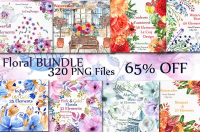 Bundle-Watercolor flowers clipart