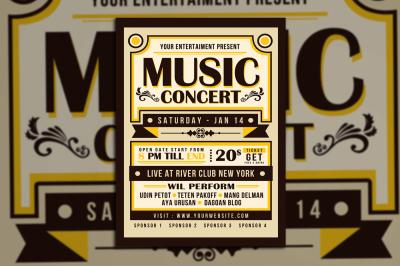 Vintage Music Concert Typography