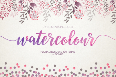 Watercolour floral borders& patterns