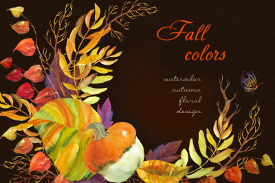 Fall colors. Watercolor collection