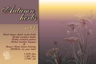 Autumn herbs sketch set #2
