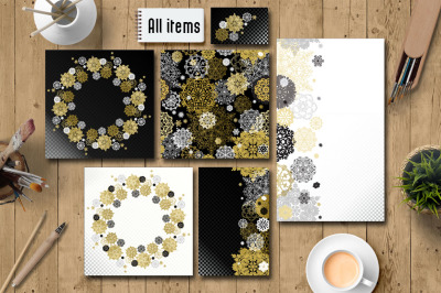 Gold Black White Snowflakes Suite