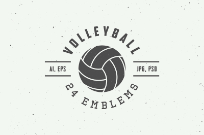 Set of 24 vintage volleyball emblems