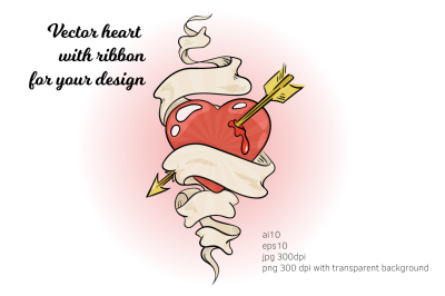 Heart with ribbon and arrow