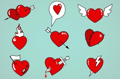 Cartoon hearts vector set