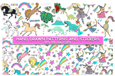 Cute hand drawn stickers and patterns.