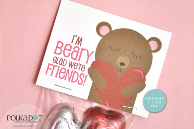Beary Glad We're Friends Printable Valentine Treat Bag Topper