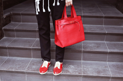 Fashion girl with red bag