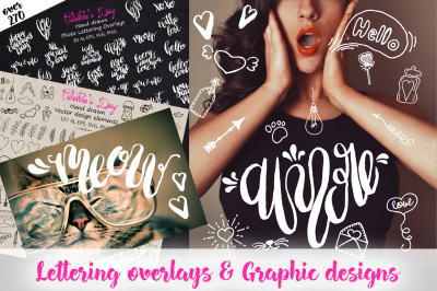 Valentine's Day Lettering & Graphic. Big Vector clipart