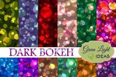 Dark Bokeh Digital Papers, Bokeh Backgrounds