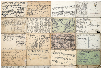 Antique postcards. Old handwritten texts. French carte postale