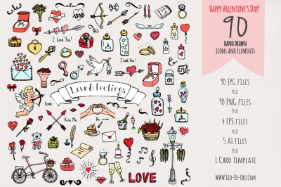 90 Hand drawn Love Elements & Symbols