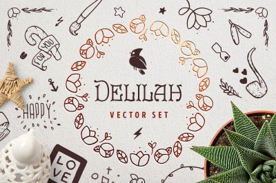 Delilah – Hand Drawn Vector Set
