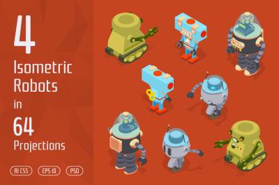 4 Isometric Toy Robots