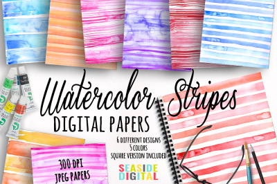 Watercolor Stripes Texture Papers