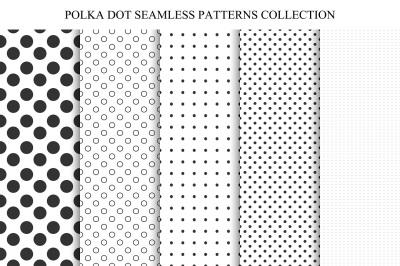 Polka dot seamless patterns.