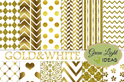 Gold and White Digital Papers, Wedding Digital Papers