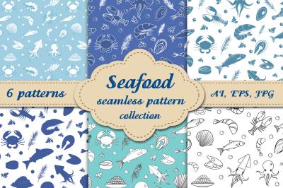 Seafood seamless pattern + BONUS