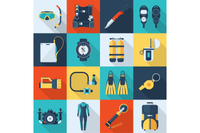 Scuba Diving and Snorkeling Icon Set