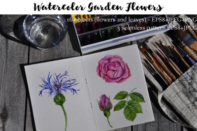 Watercolor garden flowers