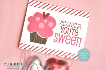 Cupcake Valentine Printable Treat Bag Topper