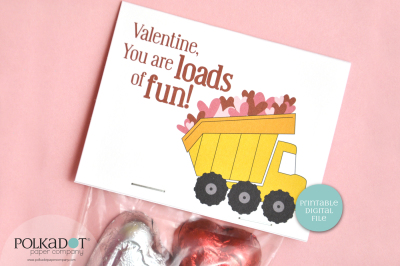 Dump Truck Valentine Printable Bag Topper