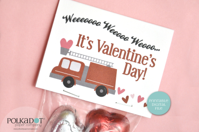 Fire Truck Valentine Printable Bag Topper