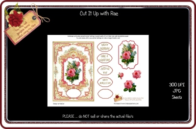 PS009 Rose Card Front Printable