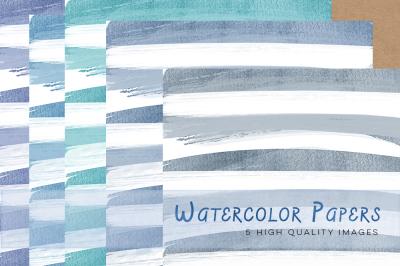 Blue Watercolour Papers, Purple digital paper watercolor pastel, wedding watercolor paper, invitation background, watercolour stripes paper