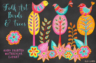 Whimsical Birds & Trees Clipart