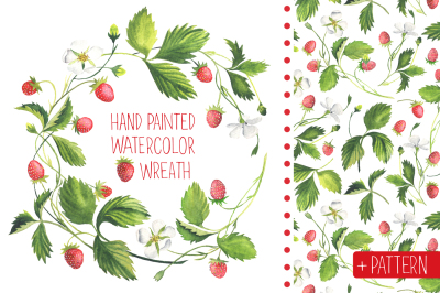 Strawberry wreath, pattern and isolated berries