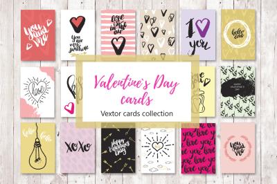 Set of 18 Valentine greeting cards