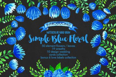 Watercolor Simple Blue Floral