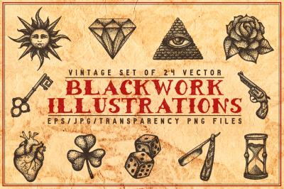 Blackwork Tattoo Illustrations