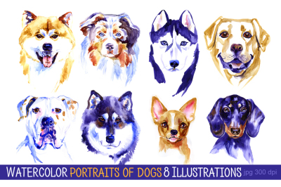 Watercolor dogs set