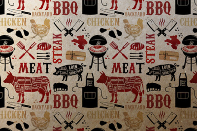 Barbecue pattern with meaty icons