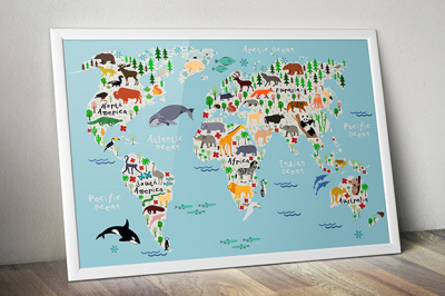 Animal map of the world for kids