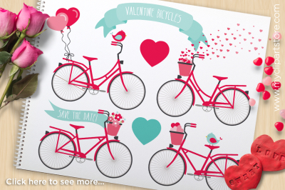 Valentine Bicycles Vector Clipart