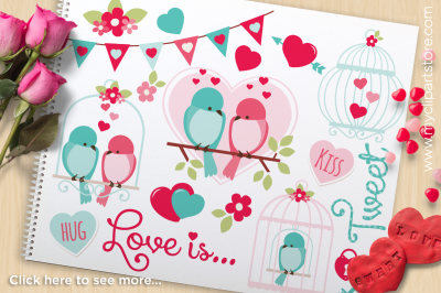 Love is Tweet - Love Birds Vector Clipart