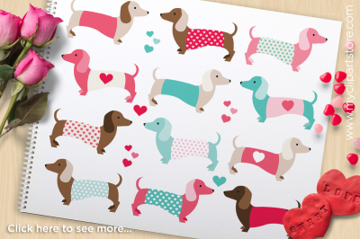 Puppy Love - Valentine Doxie / Dachshunds Vector Clipart