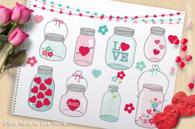 Valentine Mason Jars Vector Clipart