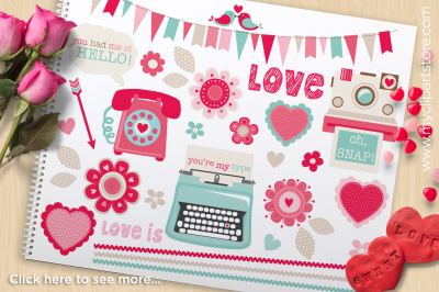Retro Valentine - Typewriter, Phone, Camera Vector Clipart
